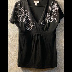 LOFT size M cotton tunic, black w subtle sequins!